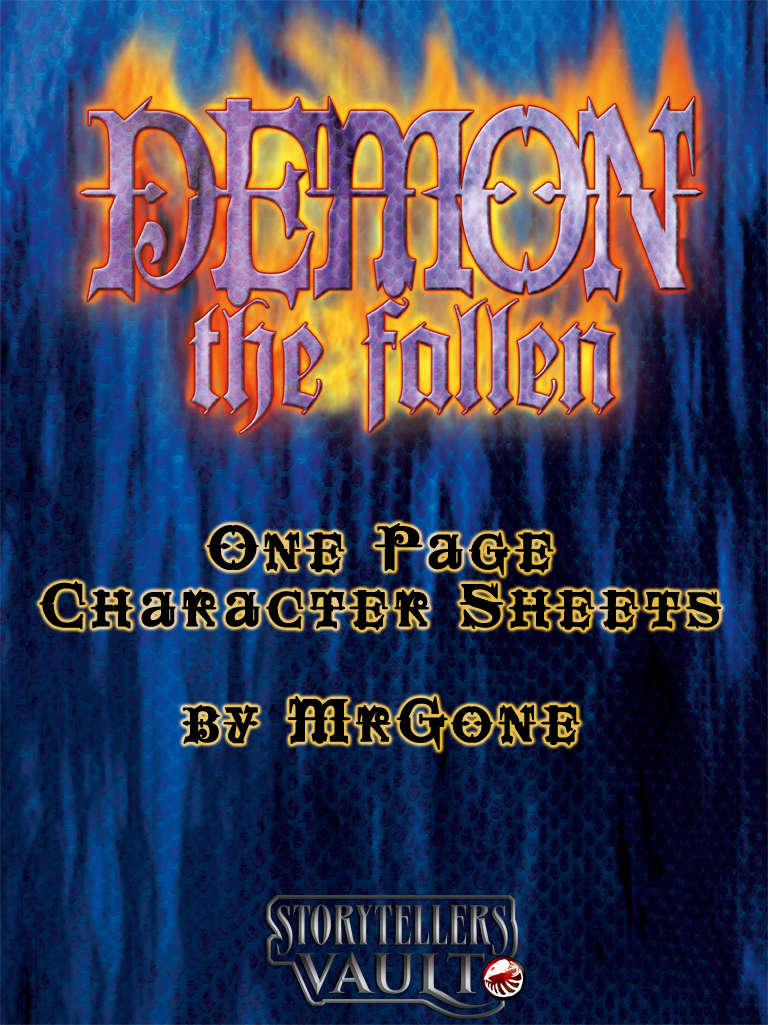 MrGone's Demon The Fallen 1-Page Character Sheets - White Wolf |  DriveThruRPG com
