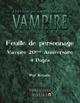 Feuille de personnage Vampire la Mascarade V20