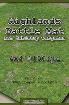Wargames Battle Mat 4'x4' - Highlands (011b)