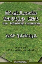 Wargames Battle Mat 3'x3' - Highlands (011c)