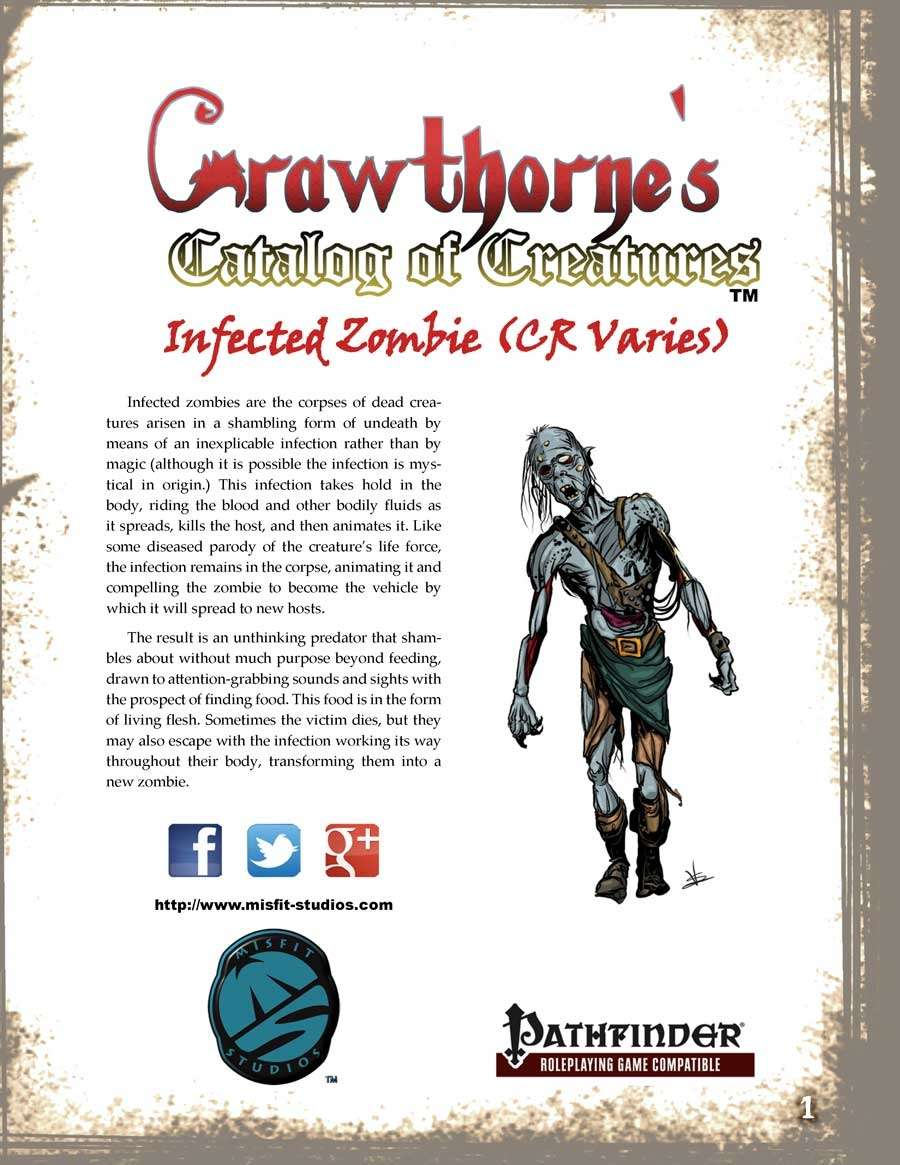 Crawthorne's Catalog of Creatures Infected Zombie