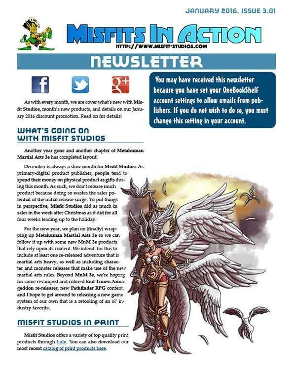 Misfit Studios January 2016 Monthly Newsletter