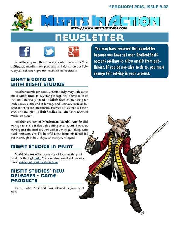 Misfit Studios February 2016 Monthly Newsletter