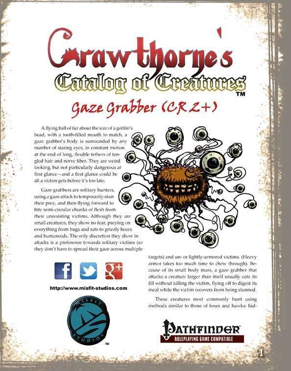 Crawthorne's Catalog of Creatures Gaze Grabber