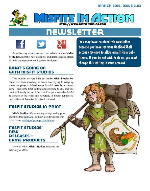 Misfit Studios March 2016 Monthly Newsletter