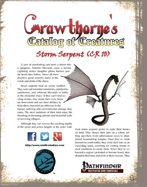 Crawthorne's Catalog of Creatures Storm Serpent