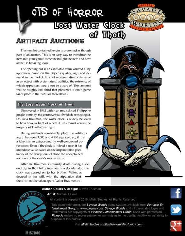 Lots of Horror: The Lost Water Clock of Thoth for Savage Worlds