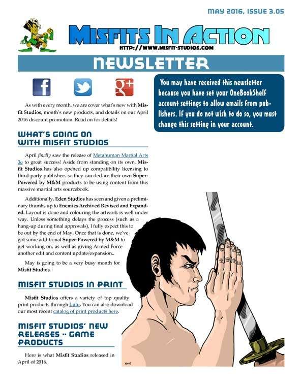 Misfit Studios May 2016 Monthly Newsletter