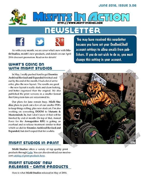 Misfit Studios June2016 Monthly Newsletter