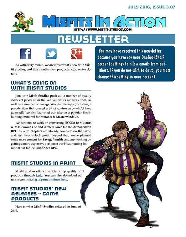 Misfit Studios July2016 Monthly Newsletter