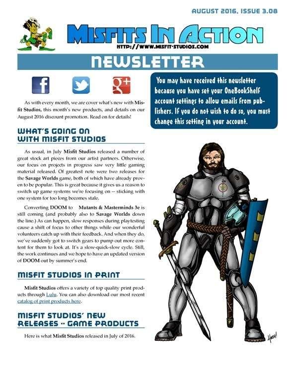 Misfit Studios August 2016 Monthly Newsletter