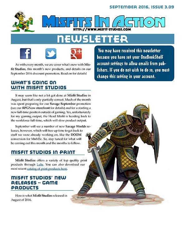 Misfit Studios September 2016 Monthly Newsletter
