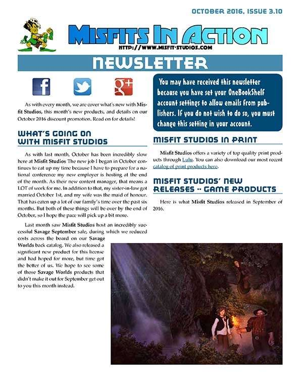 Misfit Studios October 2016 Monthly Newsletter