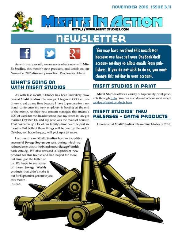 Misfit Studios November 2016 Monthly Newsletter