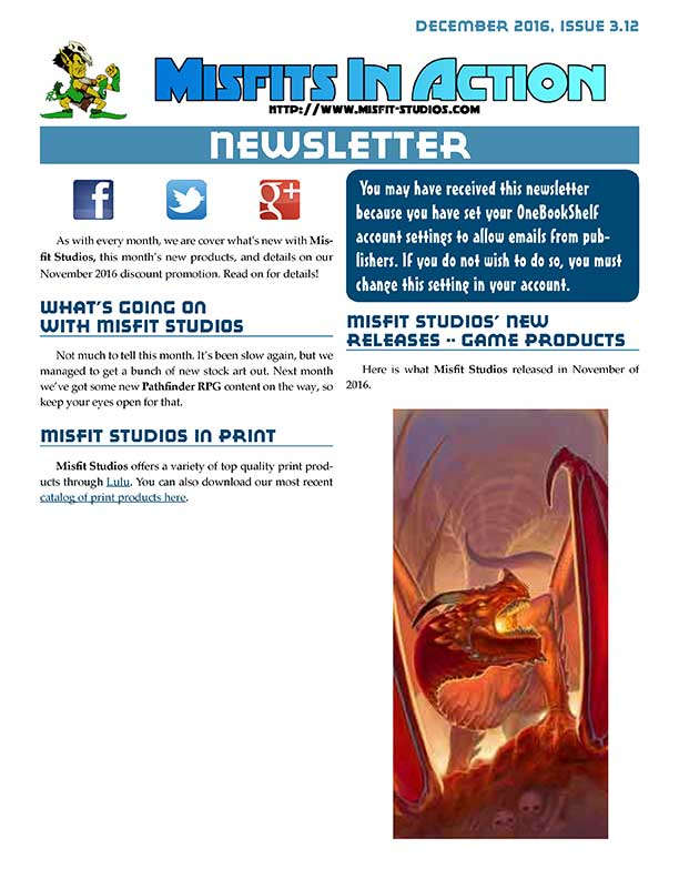 Misfit Studios December 2016 Monthly Newsletter