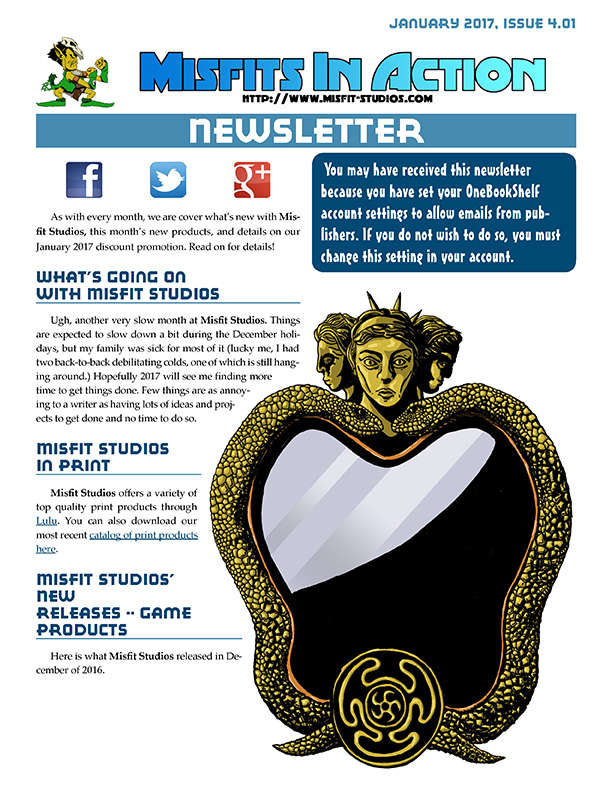 Misfit Studios January 2017 Monthly Newsletter
