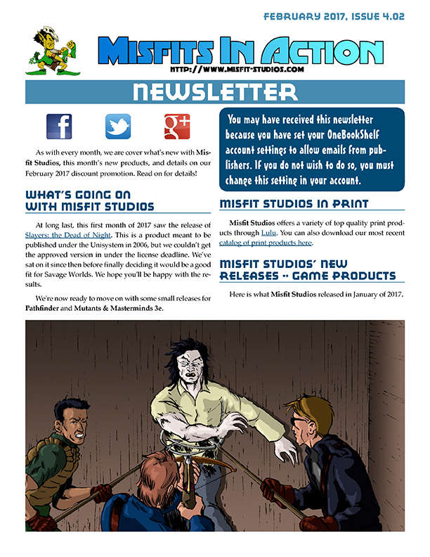 Misfit Studios February 2017 Monthly Newsletter