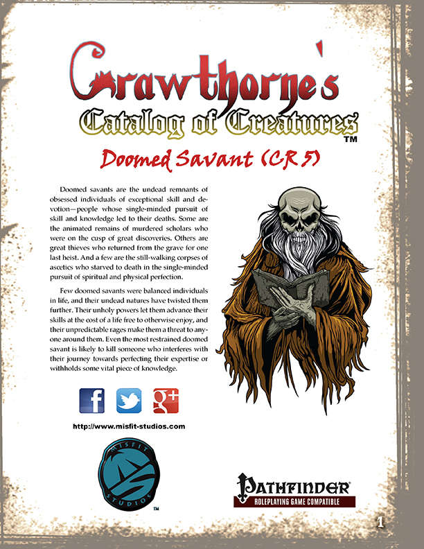 Crawthorne's Catalog of Creatures Doomed Savant