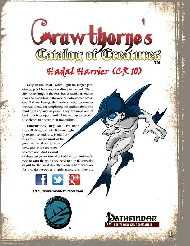 Crawthorne's Catalog of Creatures Hadal Harrier