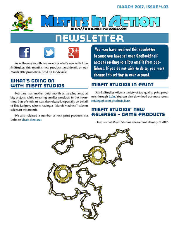 Misfit Studios March 2017 Monthly Newsletter