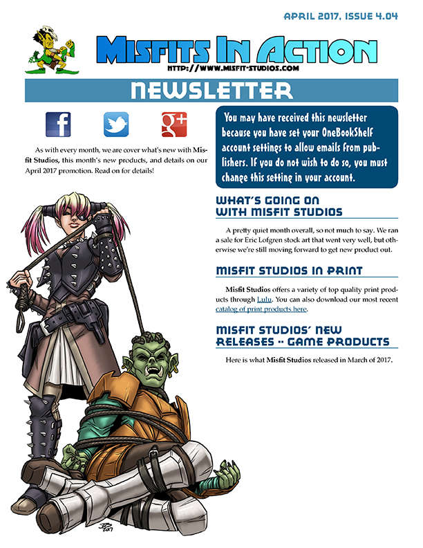 Misfit Studios April 2017 Monthly Newsletter