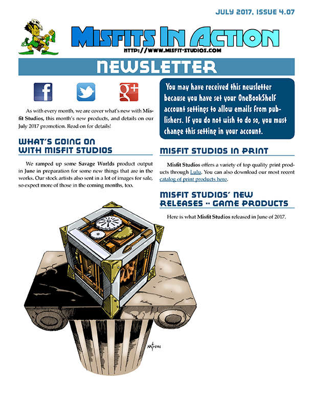 Misfit Studios July 2017 Monthly Newsletter