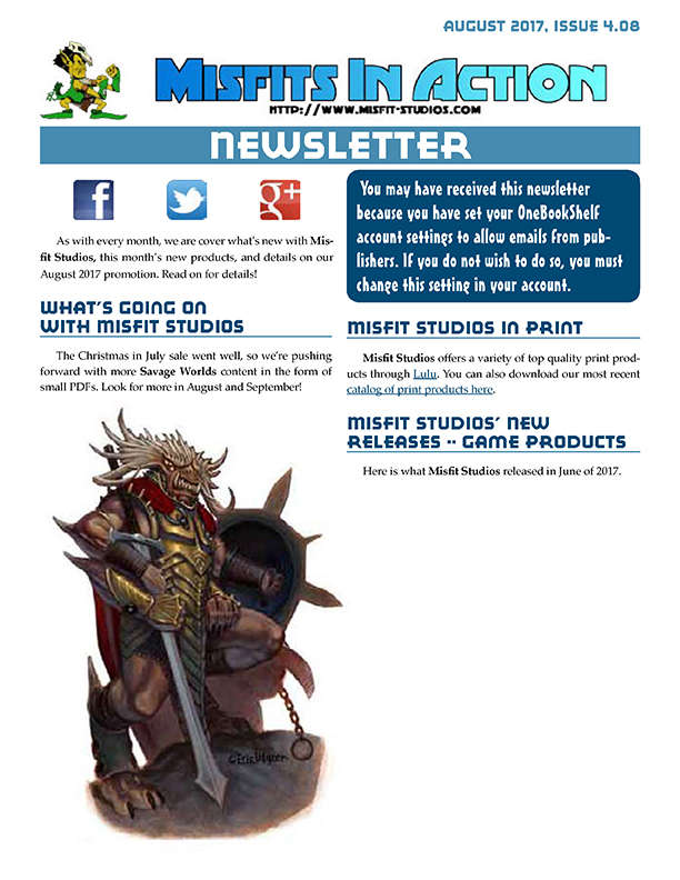 Misfit Studios August 2017 Monthly Newsletter