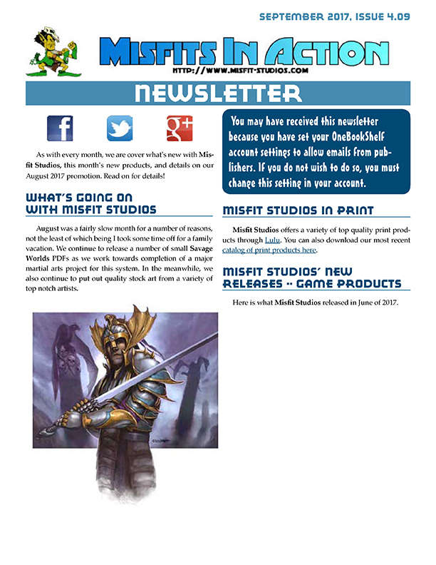 Misfit Studios September 2017 Monthly Newsletter