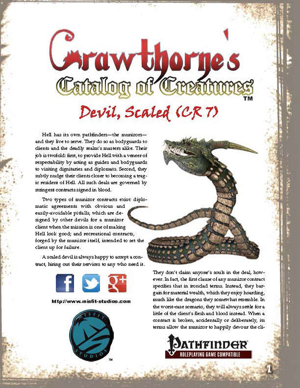 Crawthorne's Catalog of Creatures Scaled Devil