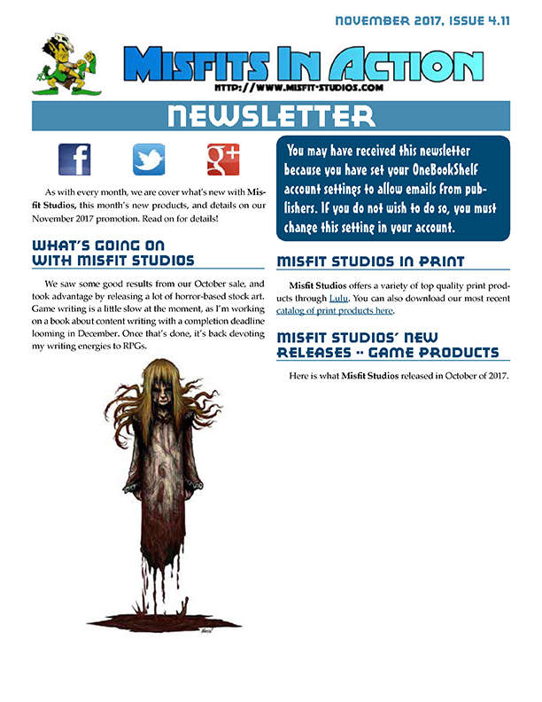 Misfit Studios November 2017 Monthly Newsletter