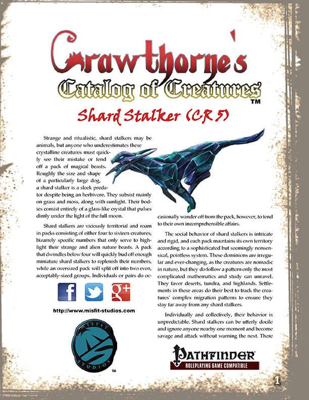 Crawthorne's Catalog of Creatures Shard Stalker