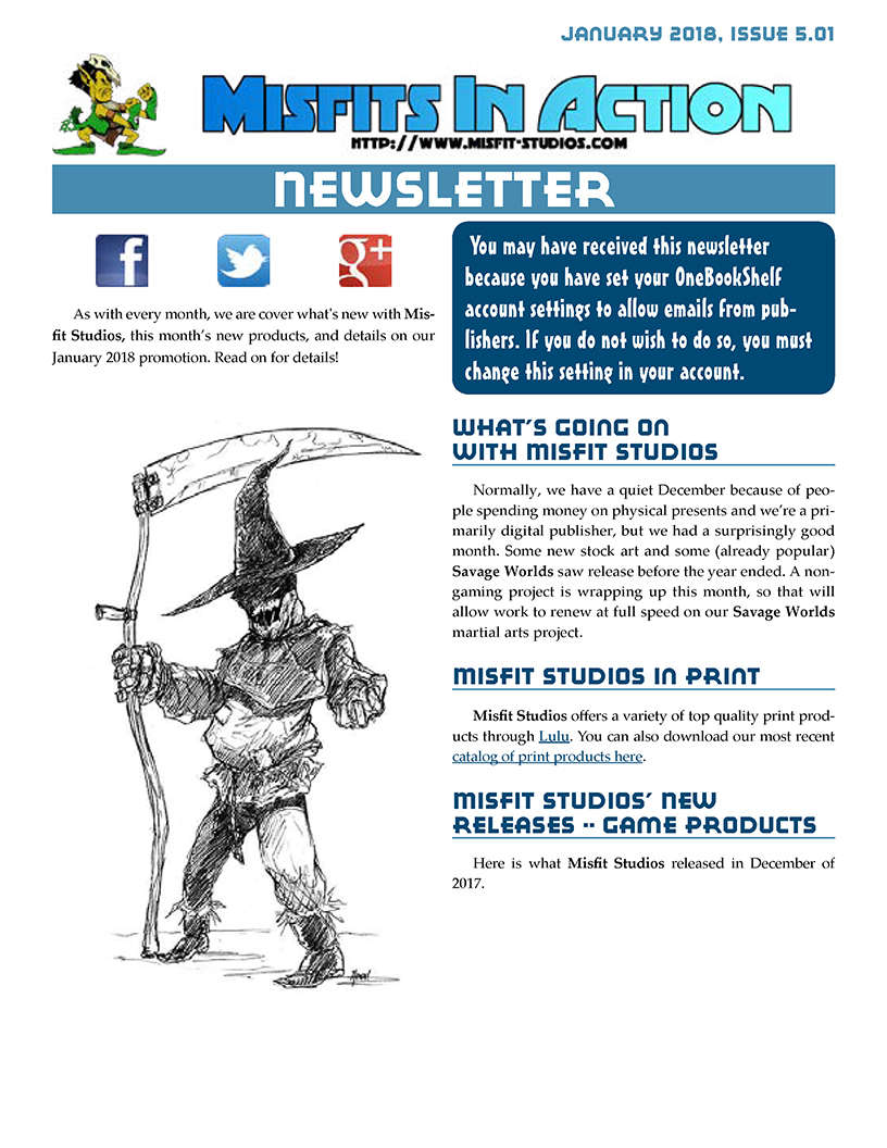 Misfit Studios January 2018 Monthly Newsletter