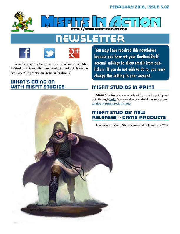Misfit Studios February 2018 Monthly Newsletter