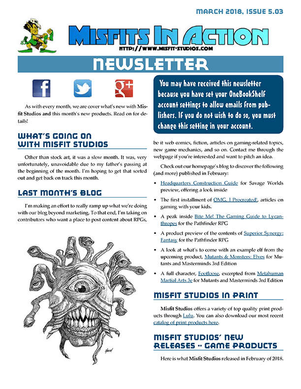 Misfit Studios March 2018 Monthly Newsletter