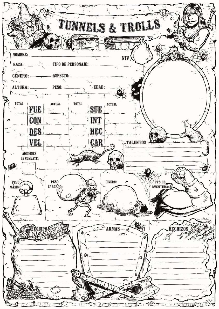 Hoja de personaje para T&T - Hirukoa | DriveThruRPG com