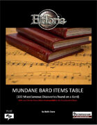 Mundane Bard Items Tables