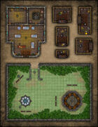 VTT Map Set - #099 Jeweler Shop, Merchant Kiosks & Small City Park