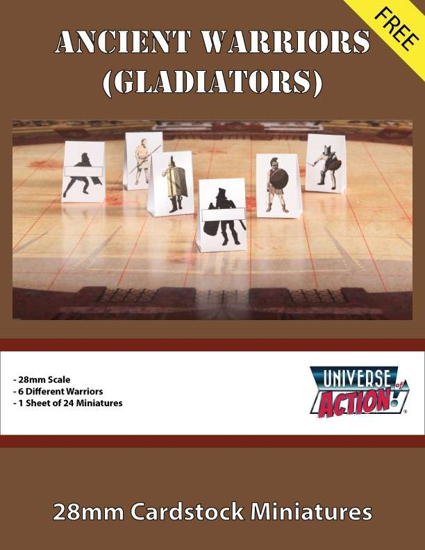 Ancient Warriors (Gladiators) 28mm Cardstock Miniatures