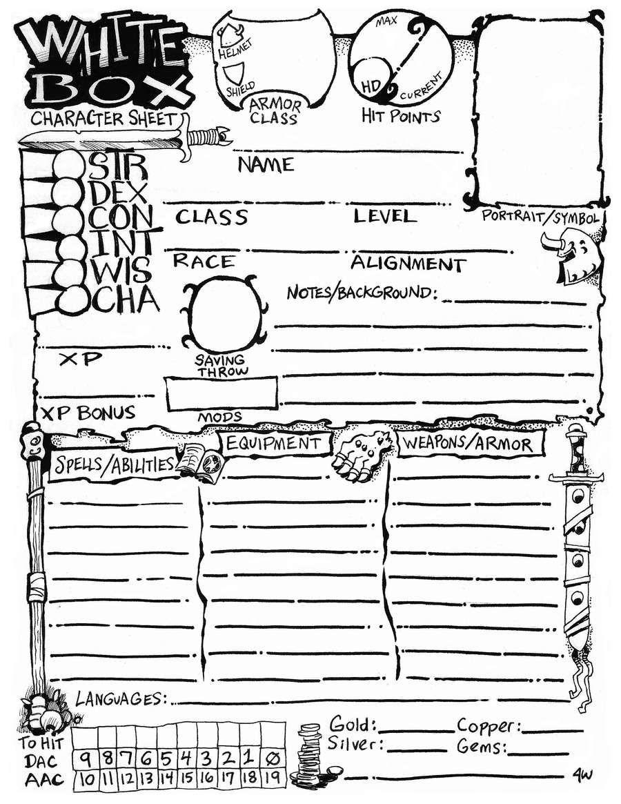 white box character sheet
