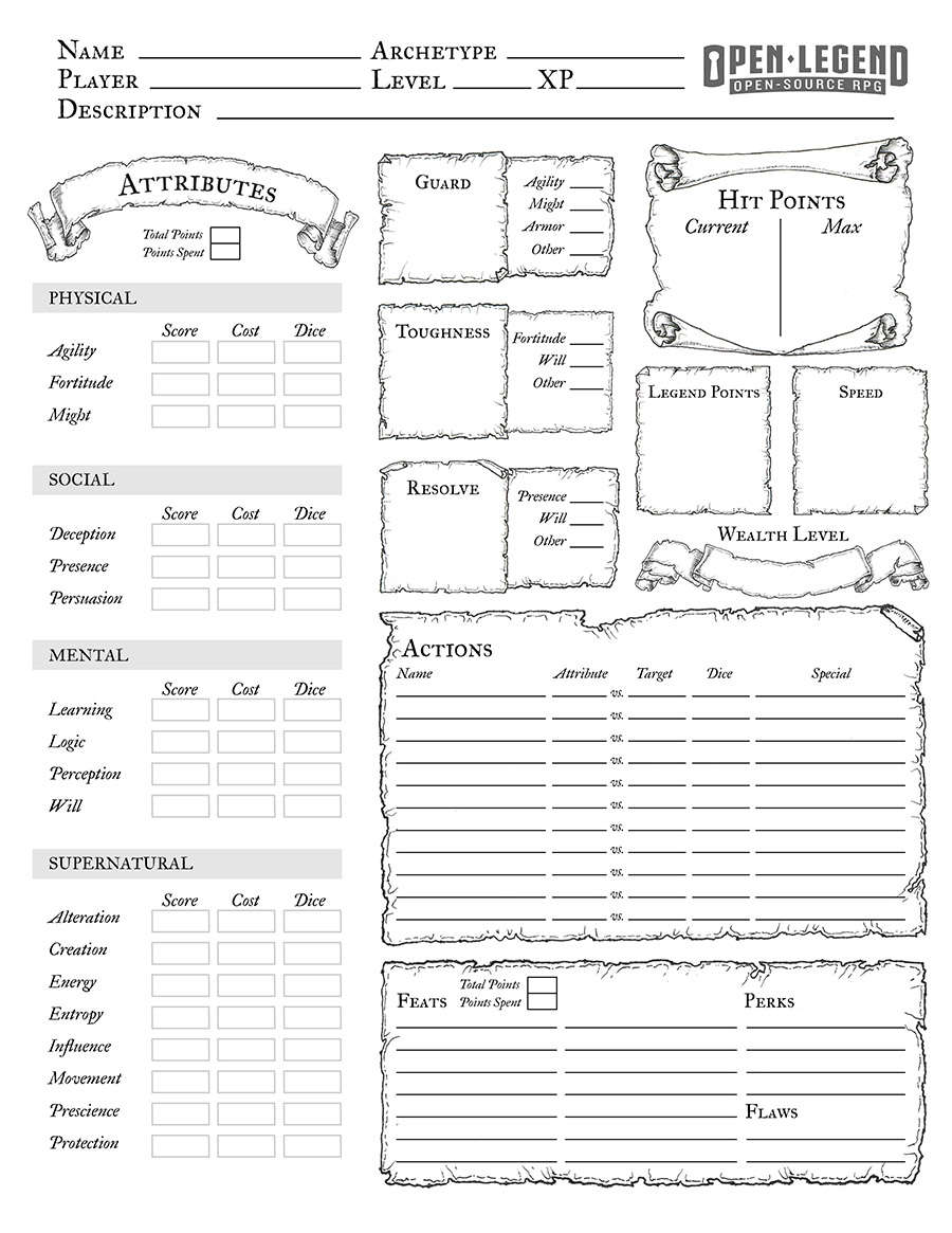 photo relating to Printable Character Sheet 5e named Open up Legend Printable Personality Sheet - 7th Sphere