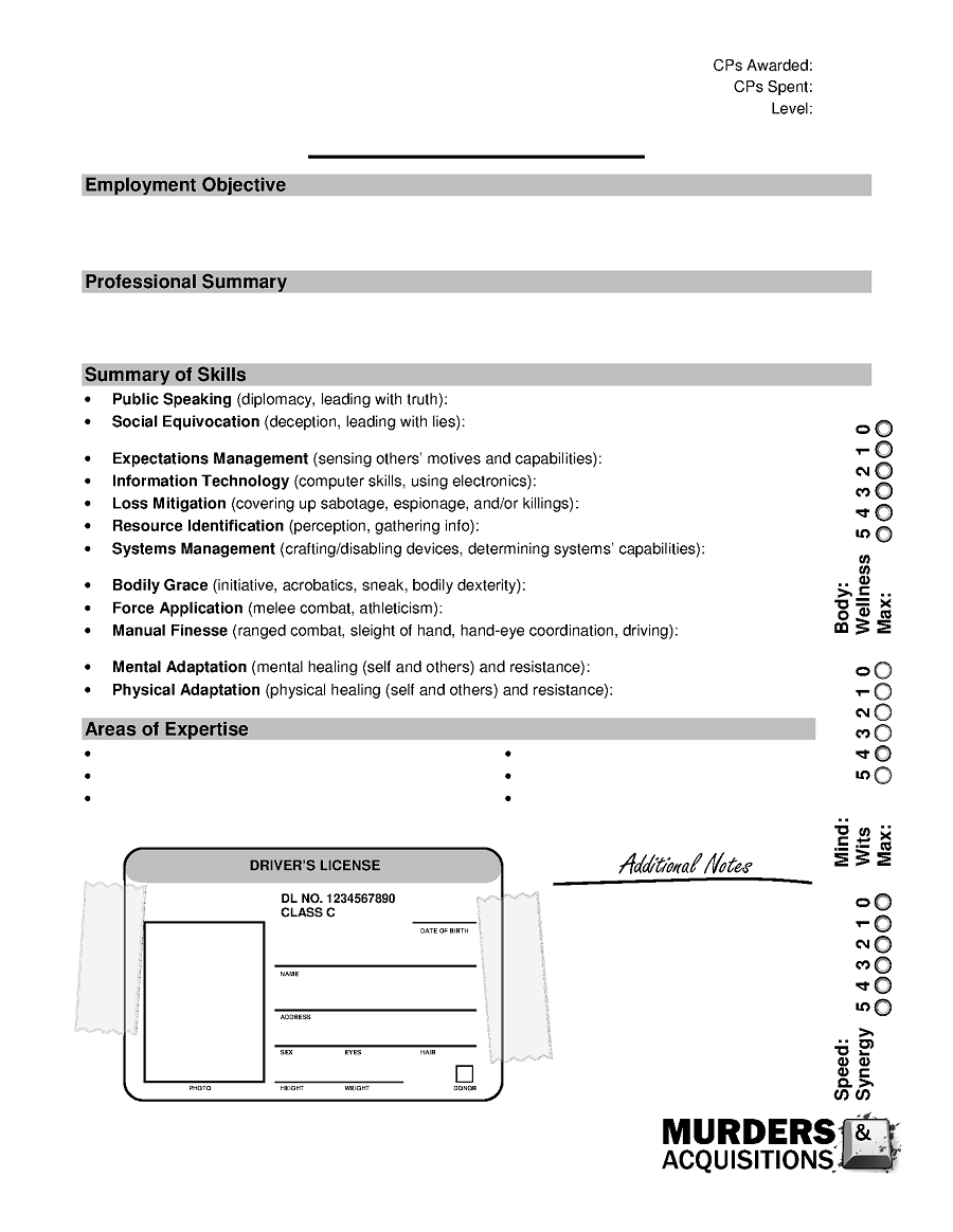 Murders & Acquisitions Character Sheet