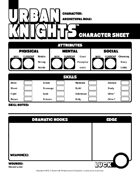 Character Sheet for Urban Knights: Roleplaying in the World of 1970s Crime Television
