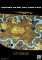 1 Page Hexagonal War Game Maps - Rolling Hills & Rivers (A4)