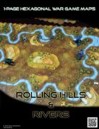 1 Page Hexagonal War Game Maps - Rolling Hills & Rivers (US Letter)