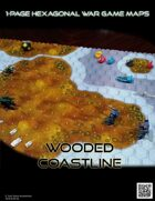 1 Page Hexagonal War Game Maps - Wooded Shoreline (US Letter)