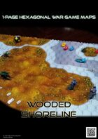 1 Page Hexagonal War Game Maps - Wooded Shoreline (A4)