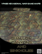 1 Page Hexagonal War Game Maps - Shallow Canyons & Sinkholes (US Letter)