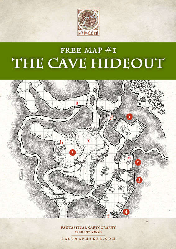 Free Map #01 - The Cave Hideout - The Last Mapmaker | DriveThruRPG com