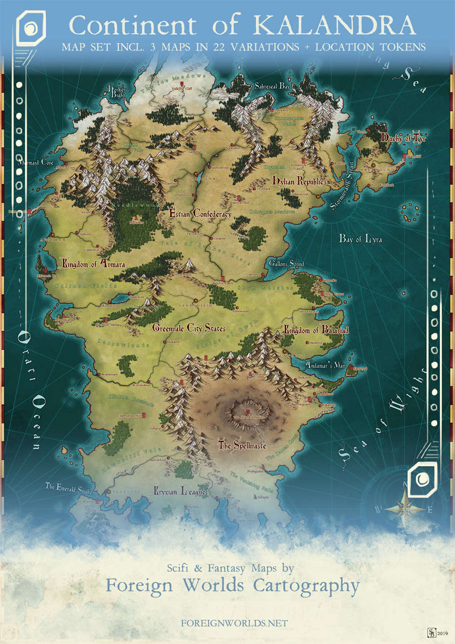 Kalandra - Continent Map Set - Foreign Worlds Cartography ...