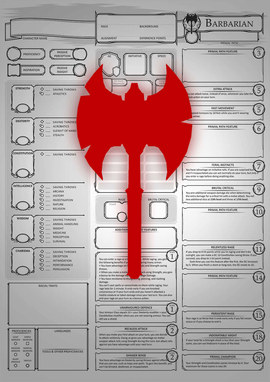 Class Character Sheets - The Barbarian - Crafty Players Productions |  DriveThruRPG com